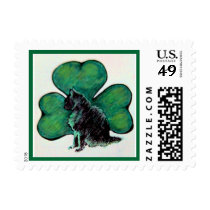 St. Patrick's Day Shamrock Cat Postage