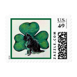 St. Patrick's Day Shamrock Cat Stamp