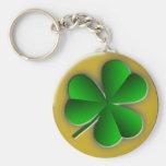 St Patricks Day Shamrock Classic Round Keychain Keychain