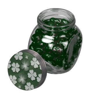 St Patricks Day shamrock clover pattern Jelly Belly Candy Jar