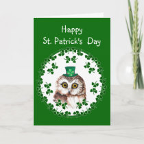 St. Patrick's Day Shamrock Cute Owl wisdom & Luck Card
