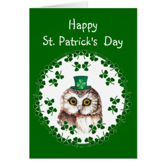 St. Patrick's Day Shamrock Cute Owl wisdom & Luck Greeting Cards