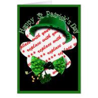 St Patrick's Day Shamrock Frame w/Adjustable Tie Greeting Card
