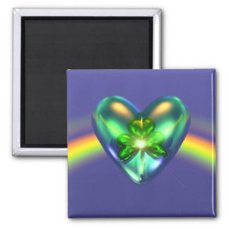 St. Patricks Day Shamrock Heart 2 Inch Square Magnet