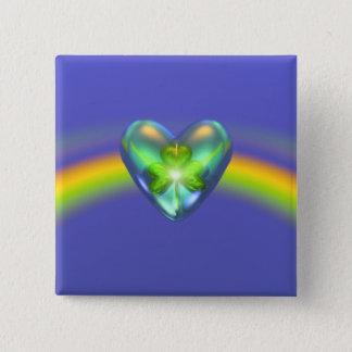 St. Patricks Day Shamrock Heart Button