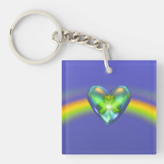 St. Patricks Day Shamrock Heart Keychain
