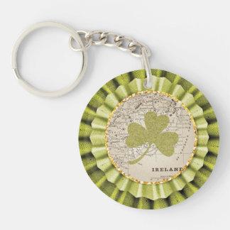 St. Patrick's Day Shamrock Leaf Keychain Double-Sided Round Acrylic Keychain