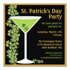 St. Patricks Day Shamrock Martini Invitation at Zazzle