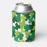 St. Patrick's Day Shamrock Pattern Can Cooler