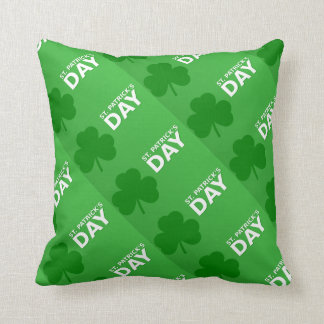 St Patrick's Day Shamrock Pattern Reversible Throw Pillow