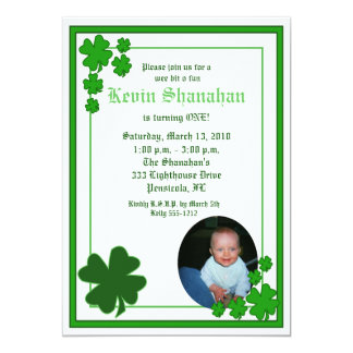 St. Patrick's Day Shamrock *PHOTO* Birthday 5x7 Card
