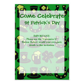 St Patricks Day Shamrock Pot of Gold Green Beer 5x7 Paper Invitation Card