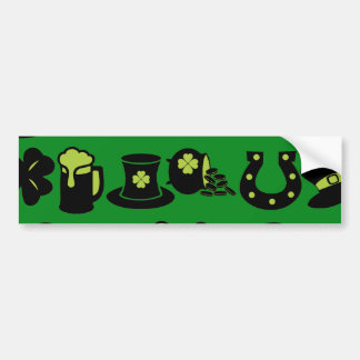St Patricks Day Shamrock Pot of Gold Green Beer Bumper Sticker