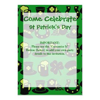 St Patricks Day Shamrock Pot of Gold Green Beer 5x7 Paper Invitation Card