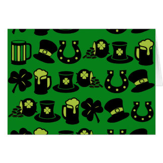 St Patricks Day Shamrock Pot of Gold Green Beer Stationery Note Card
