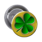 St Patricks Day Shamrock Round Button Pinback Button
