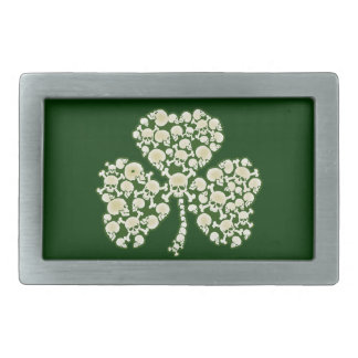St Patricks Day Shamrock Skulls Rectangular Belt Buckle