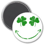 St Patrick's Day Shamrock Smiley face humor 3 Inch Round Magnet