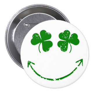 St Patrick's Day Shamrock Smiley face humor 3 Inch Round Button