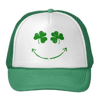 St Patrick's Day Shamrock Smiley face humor Trucker Hat
