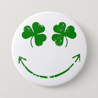 St Patrick's Day Shamrock Smiley face humor Pinback Button