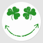 St Patrick's Day Shamrock Smiley face humor Classic Round Sticker