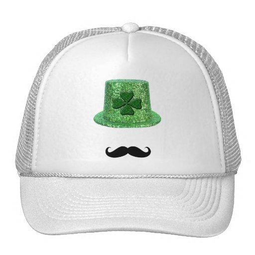 St. Patrick's Day Shamrock Sparkle Hat & Mustache