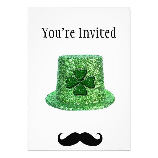 St. Patrick's Day Shamrock Sparkle Hat & Mustache Personalized Invitation