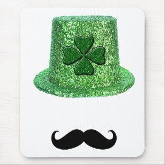 St. Patrick's Day Shamrock Sparkle Hat & Mustache Mouse Pad