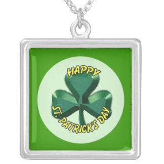 St.Patricks Day shamrock Square Pendant Necklace