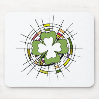 st. patrick's day, shamrock, stained glass mouse pad