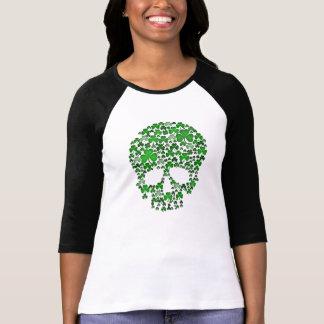 St Patricks Day Shamrocks Skull Tee Shirt