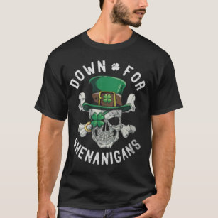 90f34058d St Patrick's Day Shenanigans Funny Skull & Clover T-Shirt