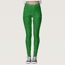 St Patrick's Day Shine Green Glitter Leggings