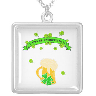 St Patrick's Day Sign Square Pendant Necklace