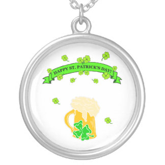 St Patrick's Day Sign Round Pendant Necklace