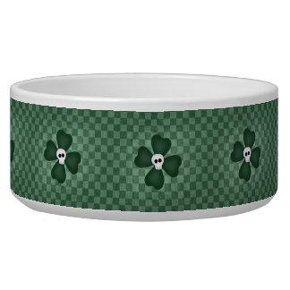 St Patricks Day skull and shamrocks Dog Bowl