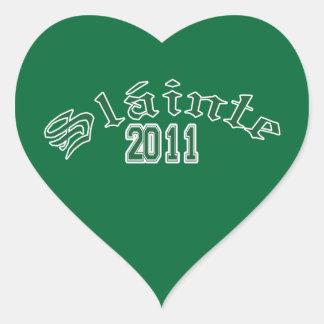 St. Patrick's day Slainte  green Heart Sticker