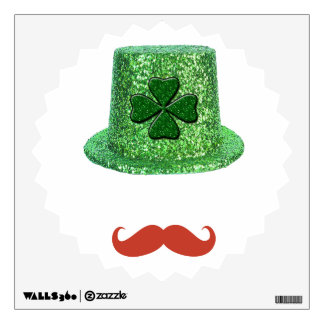 St Patrick's Day Sparkle Hat & Ginger Mustache Wall Sticker