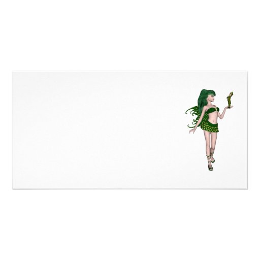 St. Patrick's Day Sprite 3 - Green Fairy Personalized Photo Card