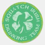 St Patrick's Day Squatch Irish Drinking Team Round Stickers