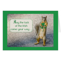 St. Patrick's Day, Squirrel, Humorous Card