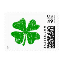 St Patricks Day stamps with green shamrock clover