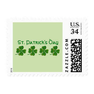 St Patricks Day Stamps with Green Shamrocks Clover