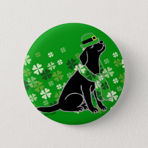 St. Patrick's Day Stylish Black Labrador Button