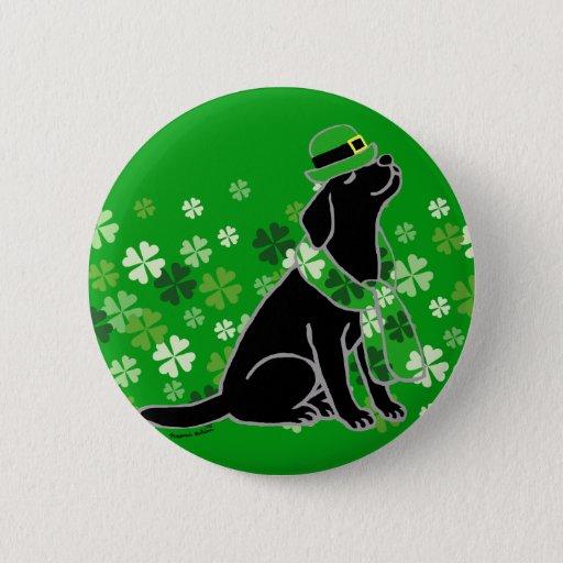 St. Patrick's Day Stylish Black Labrador Button