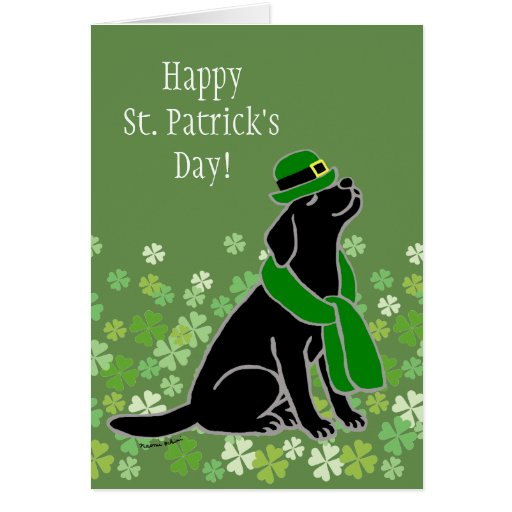 St. Patrick's Day Stylish Black Labrador Card