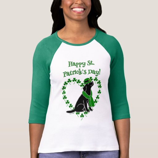 St. Patrick's Day Stylish Black Labrador Heart T-Shirt
