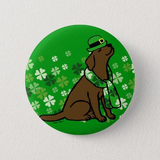 St. Patrick's Day Stylish Chocolate Labrador Button