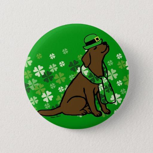 St. Patrick's Day Stylish Chocolate Labrador Button